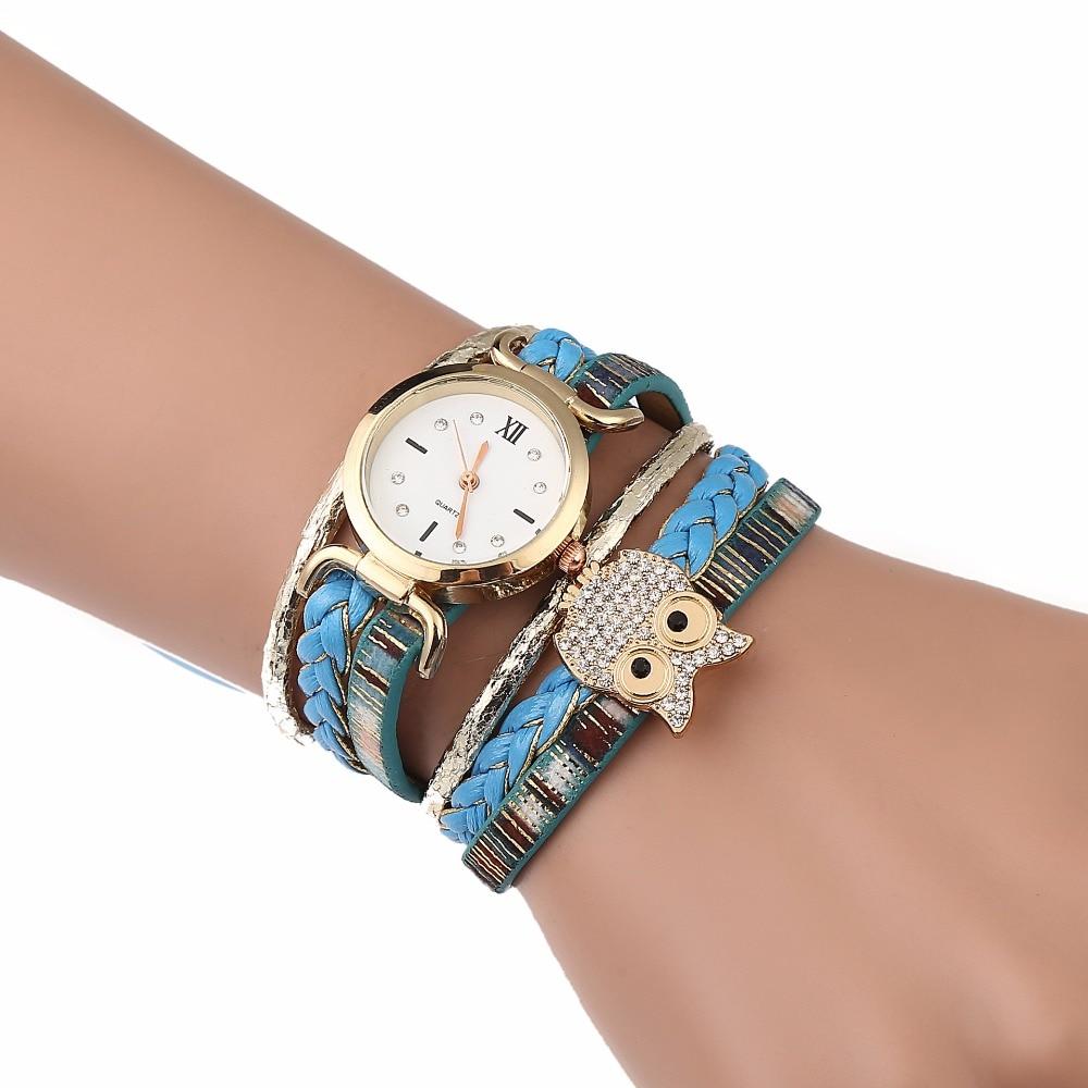 Luxury Women Watches Quartz Wristwatches Circle Womens Bracelet Watch Ladies Clock PU Leather Blue Lucky Owl Relogio Feminino