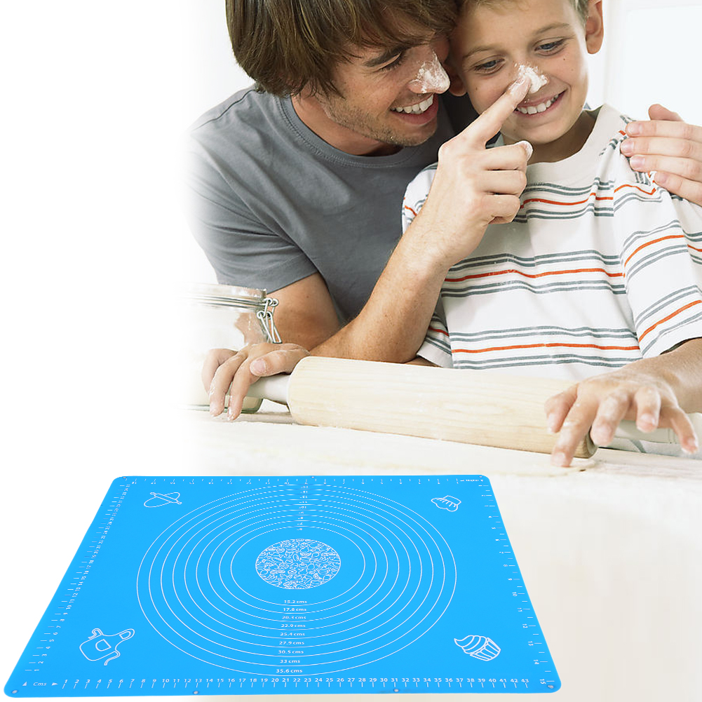 50 40cm Non Stick Silicone Baking Mat With Scale Pad Sheet