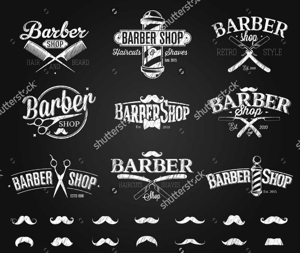 Custom Barber Shop Wallpaper Barber Shop Emblems Chalk