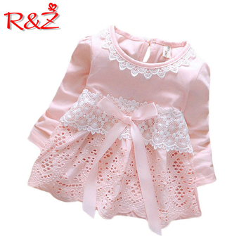 R&Z Baby Dress 2019 New Summer And FallFashion Four Leave Grass Lace Children Girls Short-sleeved Cotton Dresses k1 1