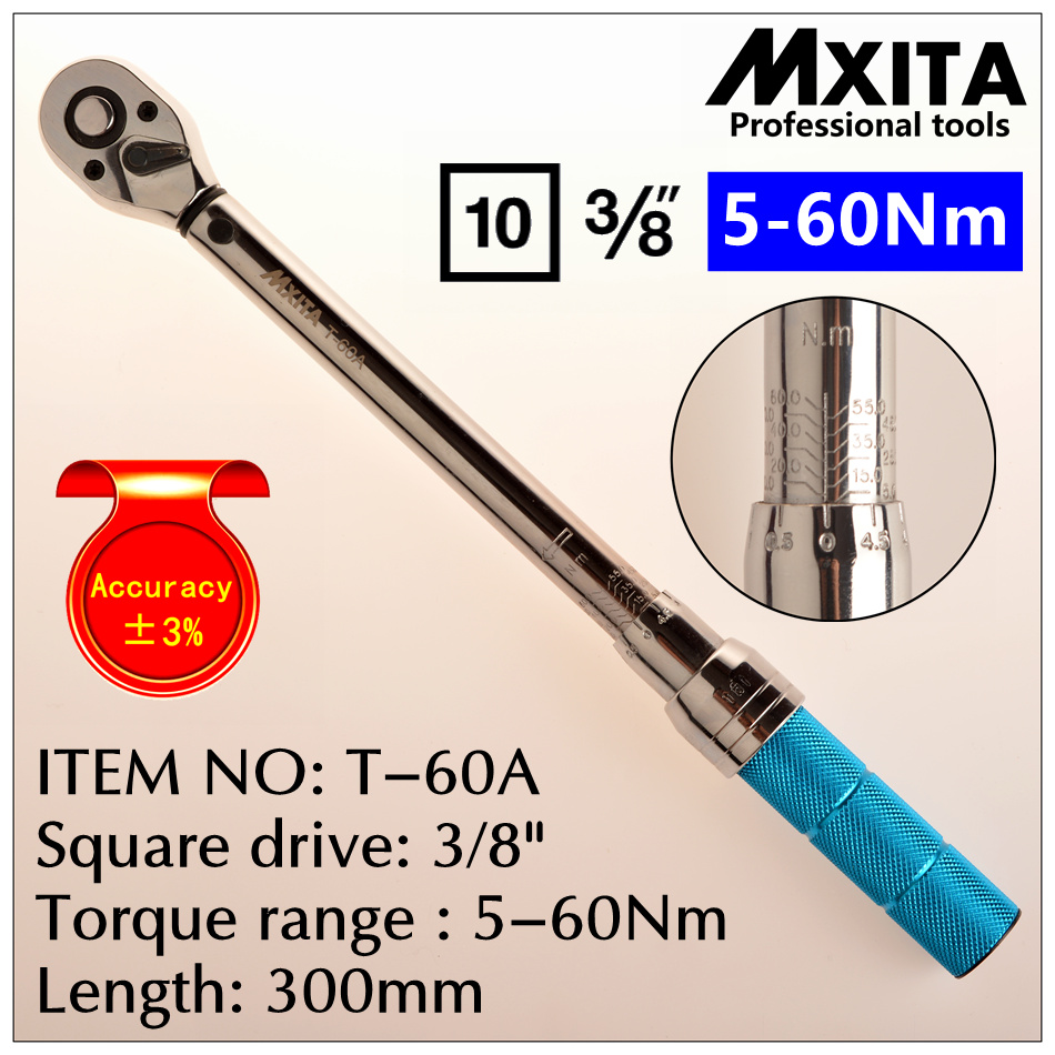 MXITA Accuracy 3% 3/8 5-60Nm High precision professional Adjustable Torque Wrench car Spanner  car Bicycle repair hand tools set mxita accuracy 3% 1 2 5 60nm high precision professional adjustable torque wrench car spanner car bicycle repair hand tools set