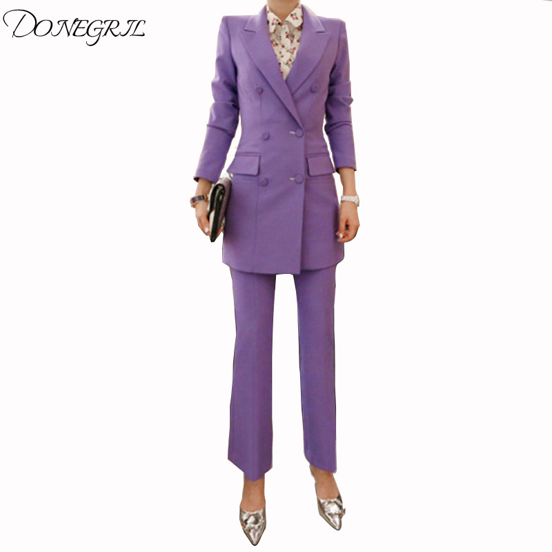 0c61d05cd2 Qualité Pantalon Crayon Double Travail Formelle Purple 2018 Long Ensemble  Wine Bureau Manteau Boutonnage Blazer red ...