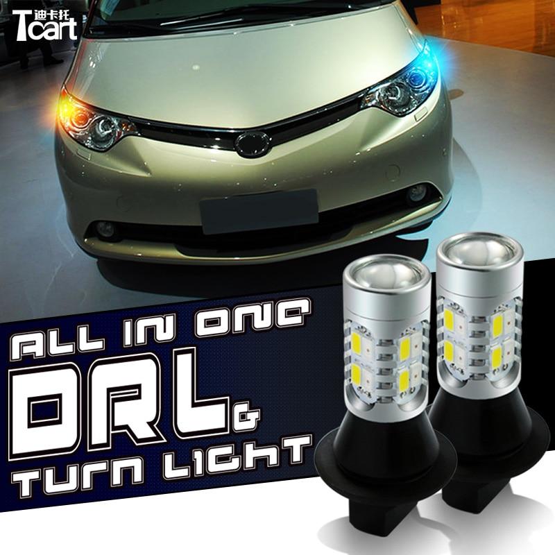 Tcart led DRL luzes diurnas luzes de mudança de direção tudo em um para mitsubishi pajero acessórios de esporte dRL virar luz