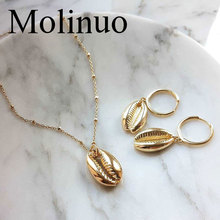Molinuo Boho Fashion Gold silver Conch Shell Pendants Necklace For Women Ocean Seashell Beach Necklace Jewelry set 2019 new boho gold conch shell chain presents