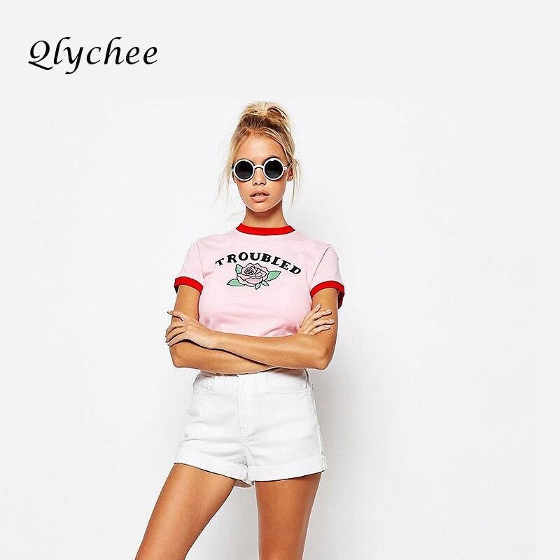 36d6b5951 Qlychee Moda Carta Verão Subiu De Impressão T-Shirt Top Colheita Rosa T  Camisas Lado Vermelho de Manga Curta O-pescoço Fino T-shirt