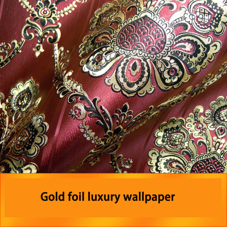 Red Gold foil luxury wallpaper for living room background wallpaper for wall modern solid gold foil red peacock feather leaves wallpaper entertainment ktv bar background wall paper rolls