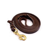 German Shepherd leather rope golden head layer with bovine pila large dog leash outdoor traction belt dog leather rope leathers(China)