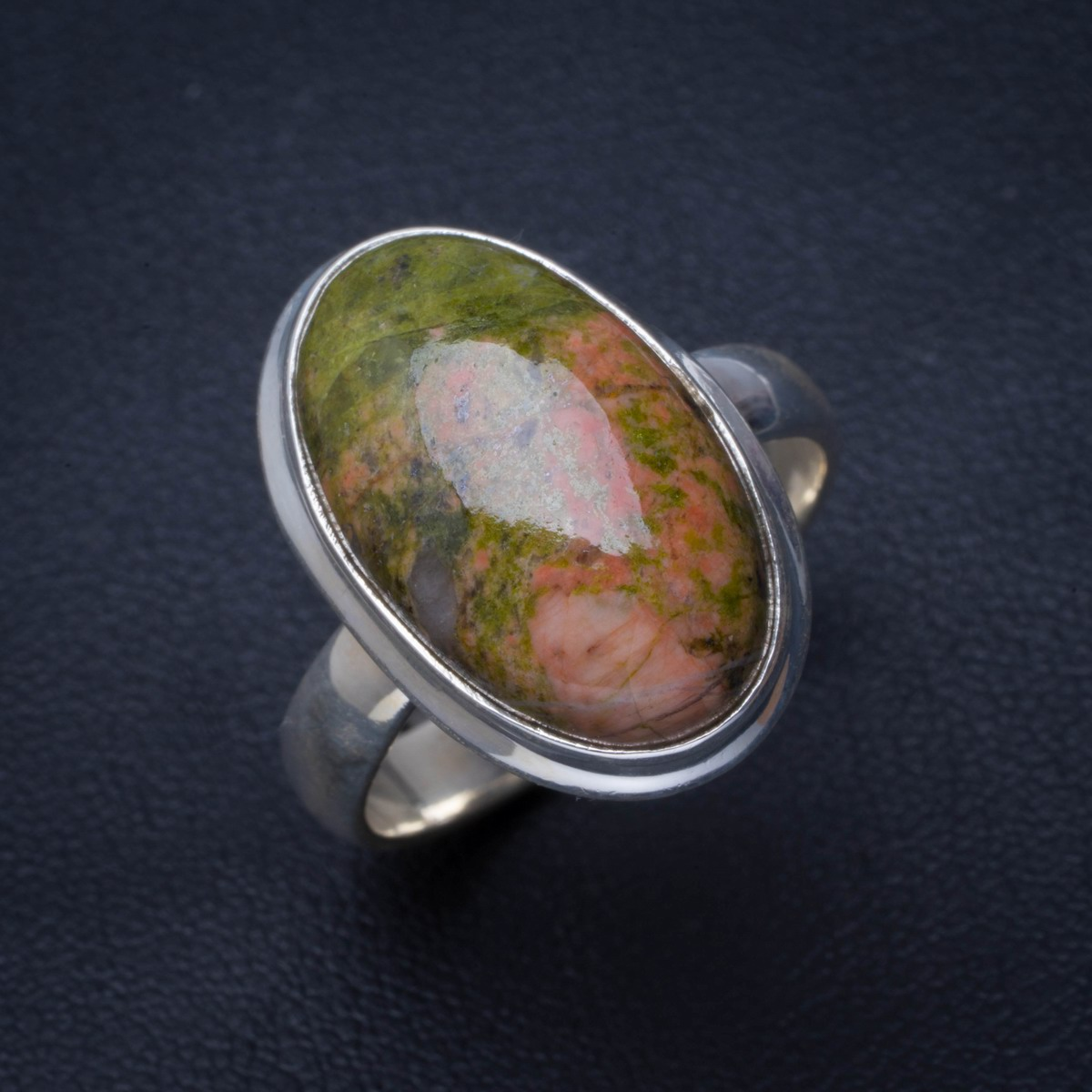 Natural Unakite Handmade Unique 925 Sterling Silver Ring 8.75 B1416Natural Unakite Handmade Unique 925 Sterling Silver Ring 8.75 B1416