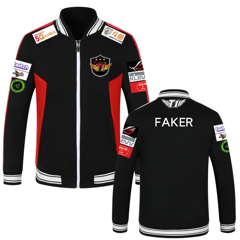 Anime Hot Game LOL SKT1 Team Jersey Coat Uniform Cosplay Costume Baseball Cardigans Sweater Faker S8