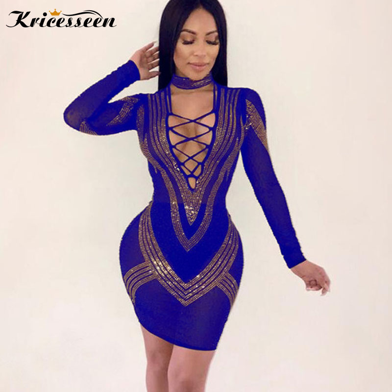 Kricesseen Sexy Women Blue Blocking Bandage V Neck Dress Long Sleeve Hot  Drilling Decorative Bodycon Party a601f302d771