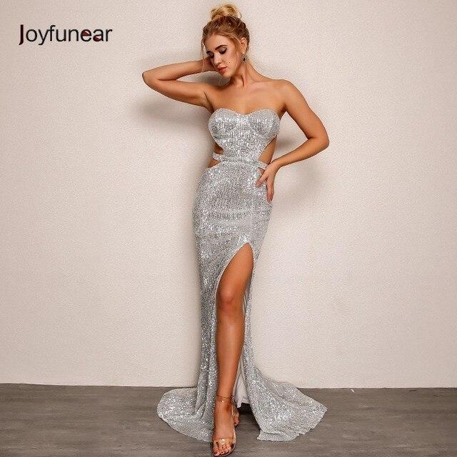 Joyfunear Mermaid Hollow Out Sequin Bodycon Women Dress Autumn Winter  Elegant Maxi Dress Party Sexy Dresses 4f7b4e928aed