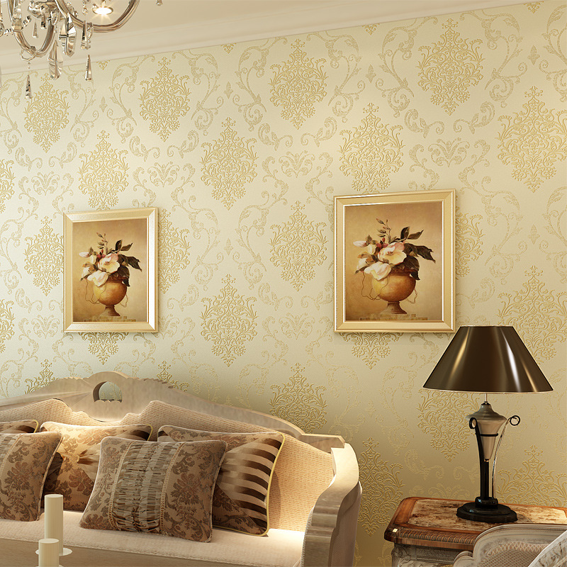 Hot sale European style wallpaper non-woven wallpaper bedroom living room TV background wall flocking bronzing 3D wallpaper кашпо для цветов ive planter keter 17196813