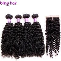 Bling Haar Verworrene Lockige Peruanische Haarbündel mit 1 stücke 4*4 Spitzenverschluss Pure Natural Color 8