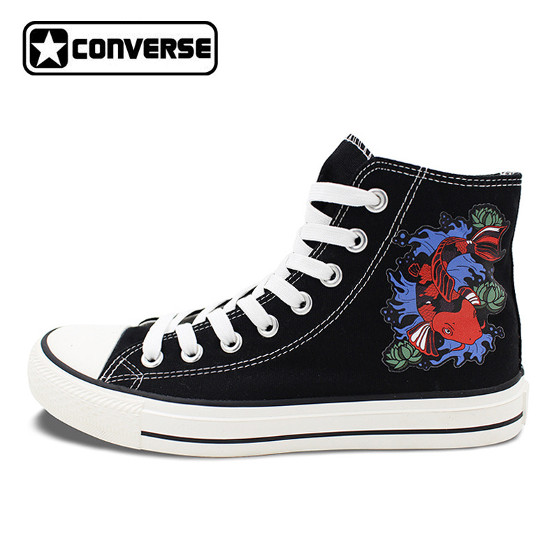 Black Converse Chuck Taylor Shoes for Men Women Design Koi Fish Cyprinus Carpio High Top Canvas Sneakers Gifts Birthday Presents