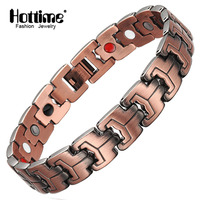 Hottime 4 In 1 Bio Elements Energy Magnetic Bracelet Red Copper Arthritis Therapy Health Men S