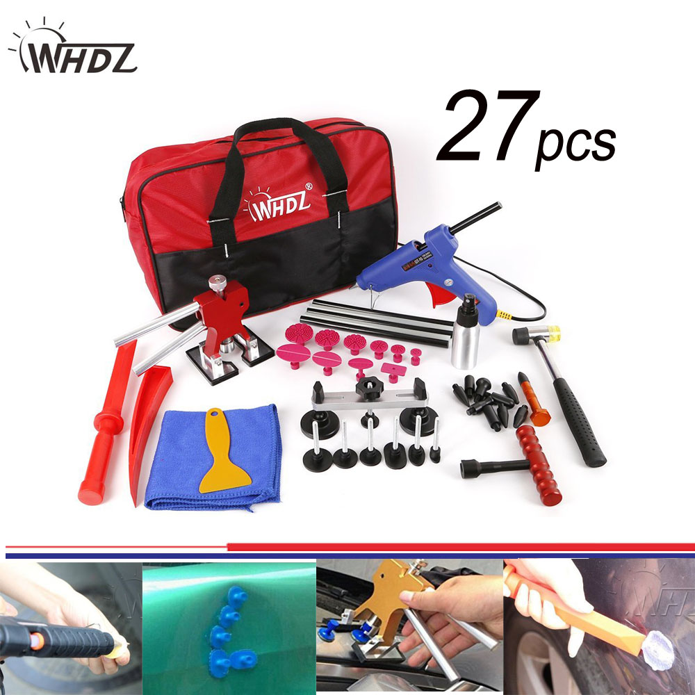27pcs Hail Damage Repair Kit Auto Car Dent Removal Dent Puller Kit Fix Ding PDR Dent Lifter Paintless Hail Repair Tool Kits golden car dent lifter glue puller with 18pcs blue tabs repair hail removal tool