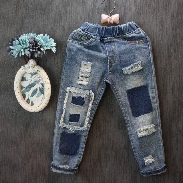 Оптовая (5 копий/LOS)-2017 новый дети весна и осень пункта старый свободные джинсы отверстие 2-7