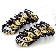 2017 New 12 Constellation Bracelet Men Women Braided Genuine Leather Bracelets & Bangles pulseira masculina erkek bileklik