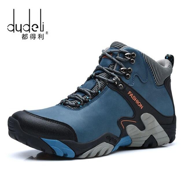 96aece9bf DUDELI Homens Tênis Para Caminhada Impermeável Sapatos Botas de Neve Bota  de Couro sapatos de Caminhada