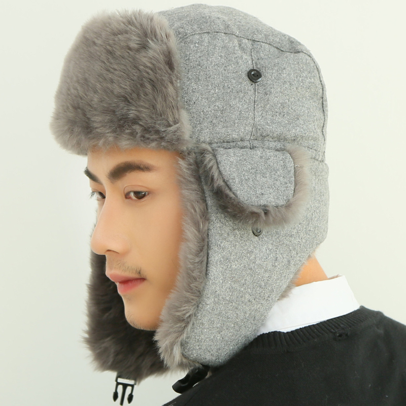 HT2108 Bomber Hat Russian Cap Thick Warm Men Women Winter Hat Ear Flap Ski Snow Trapper Cap Men Russian Ushanka Fur Hats For Men