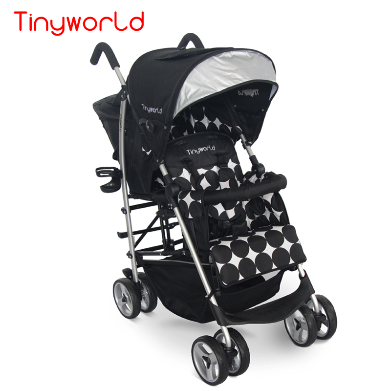 Light weight twins  stroller baby pram folding double car twins baby car super light baby stroller front and back seat