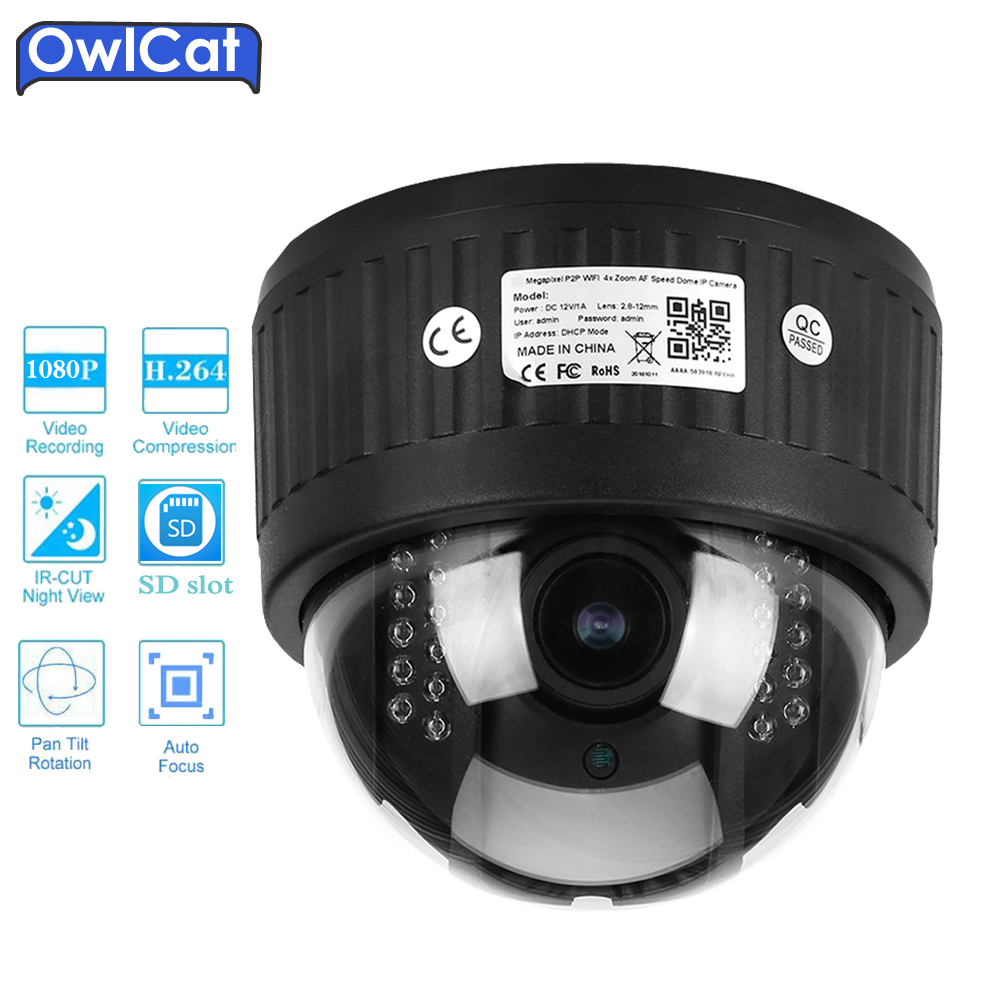 OwlCat HD 1080P Indoor Dome PTZ IP Camera Wifi 960P 5X Zoom 2.7-13.5mm 2.0MP Audio Microphone SD Card IR Security CCTV Camera owlcat hd 1080p dome ptz ip camera wifi 5x optical zoom audio microphone security cctv wifi camera sd slot ir night onvif2 4 p2p