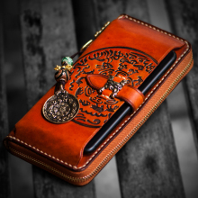 Handmade Men's Genuine Vegetable tanned Leather Handbag Checkbook Purse Clutch Long Wallet