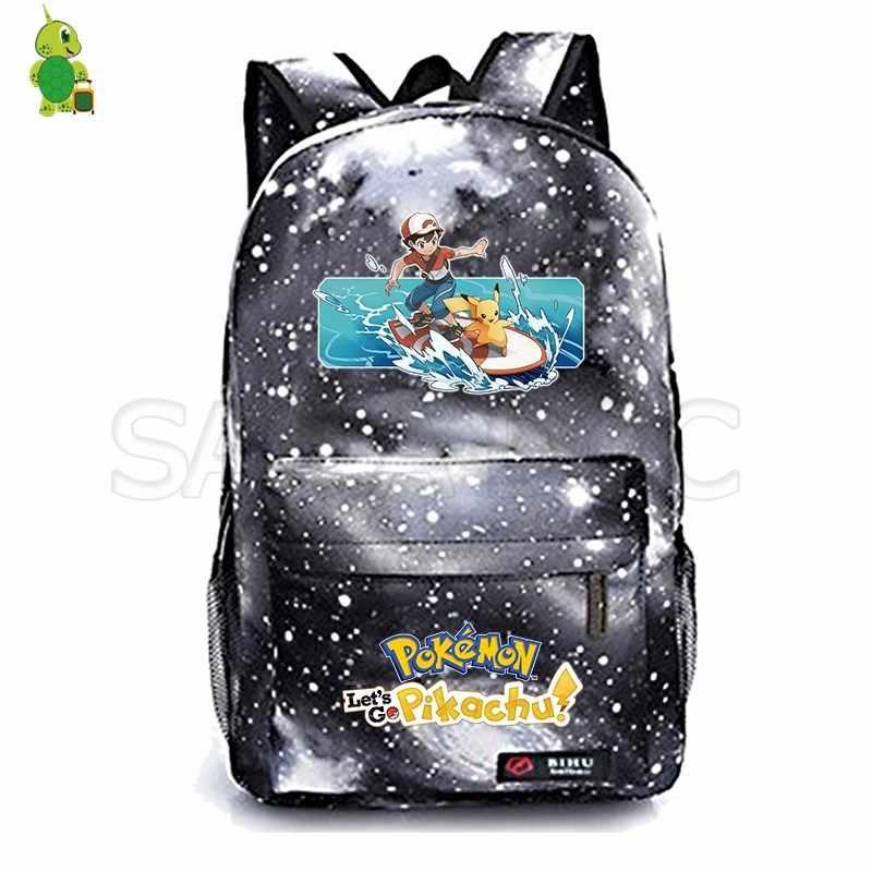 5309dc5bc25c 2019 Let's Go Pikachu Backpack for Girls Boys Pokemon Eevee School Bags  Teenagers Galaxy Daily Backpack Kids Travel Shoulder Bag
