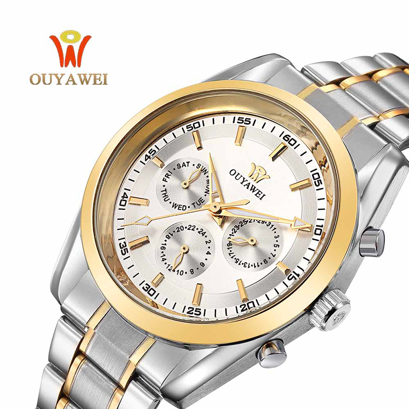 OUYAWEI Mechanical Watch Men Top Brand Luxury Automatic Business Wrist Watch Small Dial Steel Male Watches Clock reloj hombre fashion fngeen brand simple gridding texture dial automatic mechanical men business wrist watch calender display clock 6608g