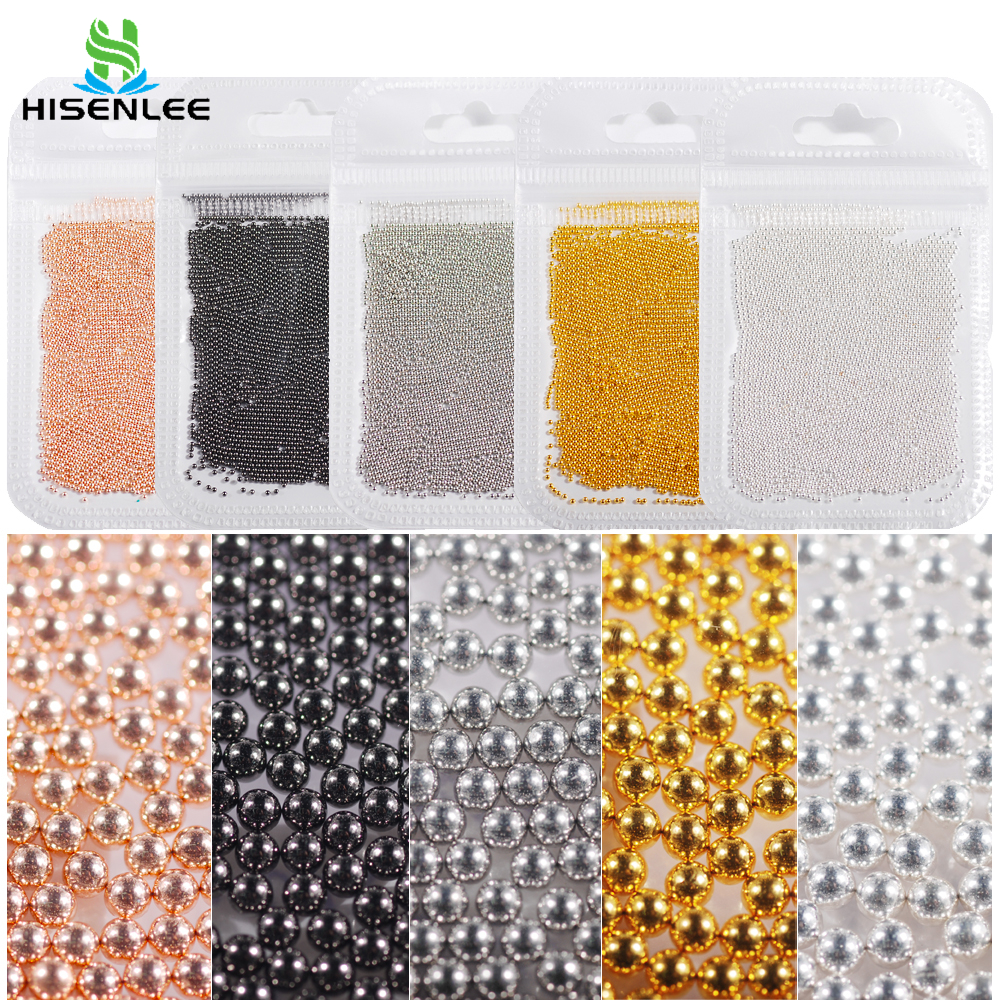 nail art decorations 0.6-2.0mm Mini Caviar Metal Stainless 10g Steel Beads 3D Micro Ball Nail Art Charms Stud Manicure Tool(China)