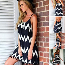 купить 2019 Summer Women Beach Dress Sexy Strap Hippie Dress Vestidos Beach Wear Wave Printed Tassel Spaghetti Strap Dress дешево