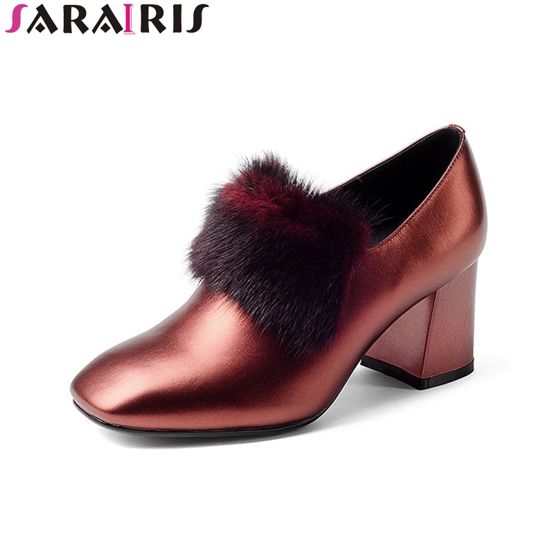 SaraIris 2018 Spring Autumn Fashion Genuine Cow Leather Large Size 33-43 Pumps High Hoof Heels Pointed Toe Women Shoes siketu 2017 free shipping spring and autumn women shoes fashion sex high heels shoes red wedding shoes pumps g107