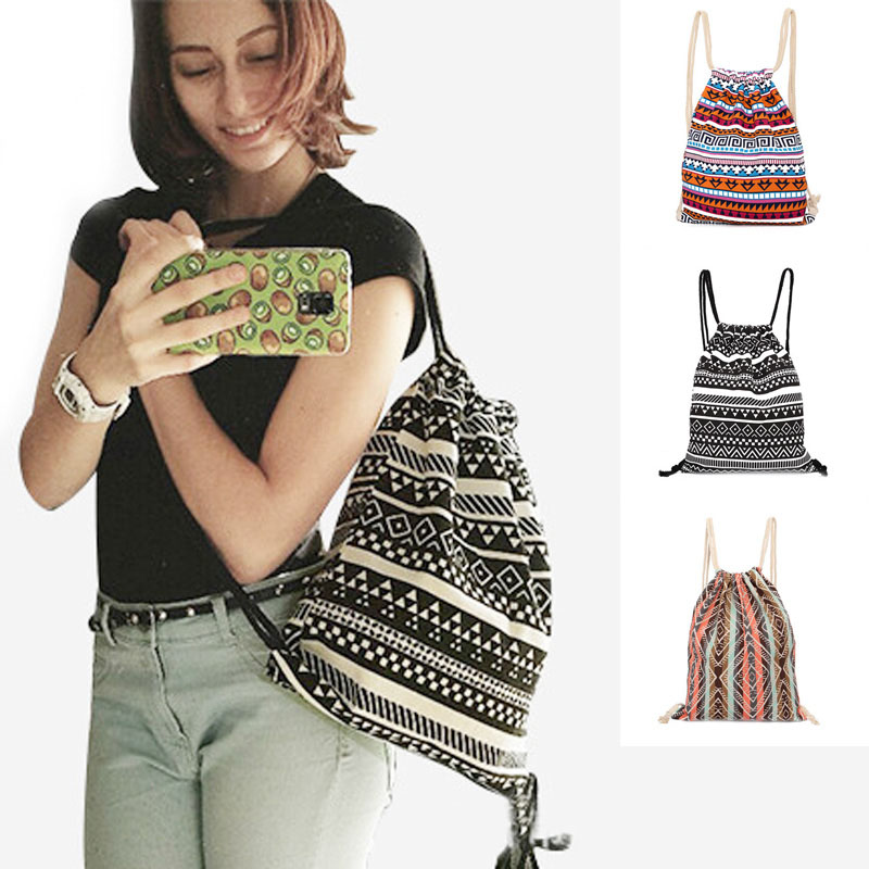 Fashion Pumping Rope Backpack Ethnic Style Digital Printing Lady Bundle Mouth Package Double Shoulder Bag 88