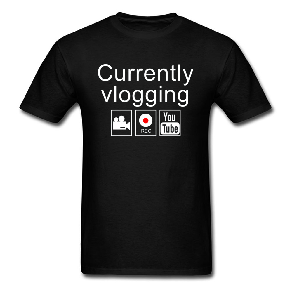 Letter T-shirt Internet Celebrity Men T Shirt Currently Vlogging YouTube Tshirt Swag Guys Tops Tees Go <font><b>Viral</b></font> Students Streetwear image