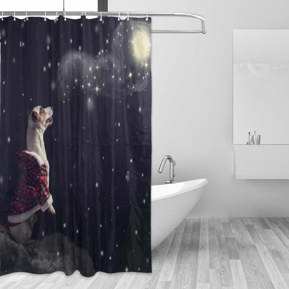 1pc Shower Curtain Creative Waterproof Christmas Bath Curtain for Bathroom Home