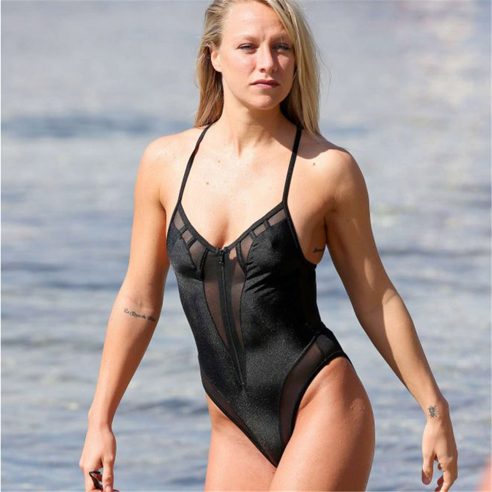 Black One Piece Swimsuit Swimwear Women High Cut Bathing Suit Bodysuit Bandage Mesh Thong Monokini Swimming Suit Maillot De Bain one piece swimsuits trikinis high cut thong swimsuit sexy strappy monokini swim suits high quality denim women s sports swimwear