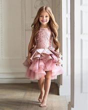 2b0bbe147 Encaje rodilla-longitud Primera Comunión Vestidos para Niñas cremallera  drapeado madre hija Vestidos tul Rosa rústico Vestidos d.