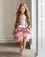 Knee Length Gorgeous Vestidos De Primera Comunion Zipper Draped A Line Pageant Christmas Pink Tulle
