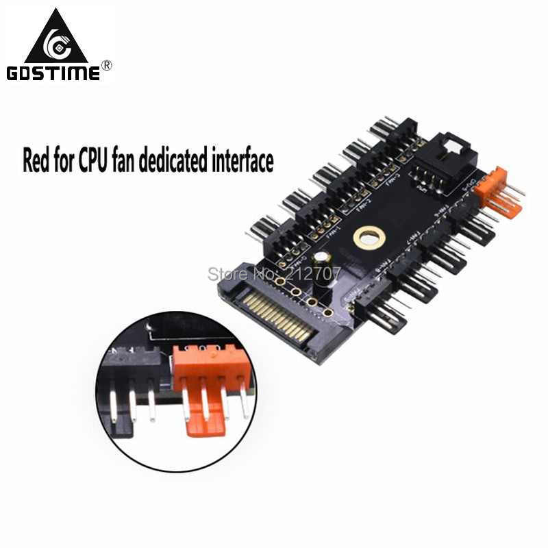 Gdstime Black 1 to 10 PC Cooler Cooling Fan Hub Splitter Cable Pwm SATA 12V 4Pin Power Supply Speed Adapter Computer Mining in Fans Cooling from Computer Office
