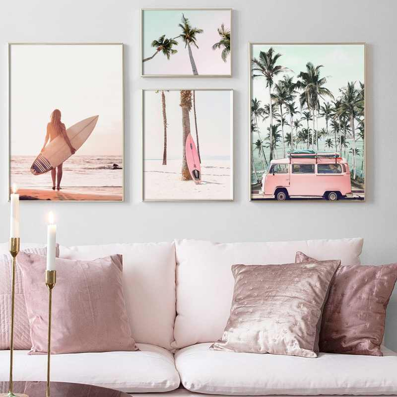 Pink Surfboard Palm Coconut Tree Car Girl Wall Art Canvas Painting Nordic Posters And Prints Wall Pictures For Living Room Decor