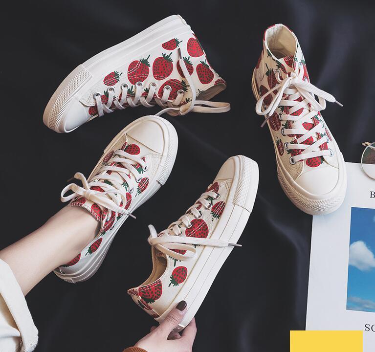 2019 Frauen Mode Turnschuhe Leinwand Schuhe Erdbeere Sommer Casual Schuhe Sneaker Wandern Skateboard Wohnungen Tenis Chaussure Femmes Mit Einem LangjäHrigen Ruf