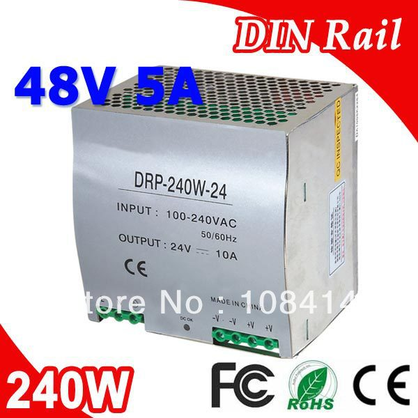 DR-240-48 Single Output LED Din Rail Power Supply Transformer 240W DC 48V 5A Output SMPSDR-240-48 Single Output LED Din Rail Power Supply Transformer 240W DC 48V 5A Output SMPS