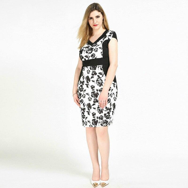 L 7xl Women Dress Plus Size Elegant Floral Print Black White Summer Dresses 3xl 4xl 5xl 6xl Bodycon Sheath Dress Slim Vestidos