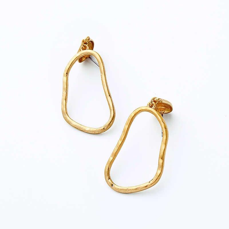 ... Крыло ЮК tak дешевые ювелирные изделия Модные золотые цвет простой  серьги нерегулярные Висячие пустотелые серьги для ... 059e8e673bd