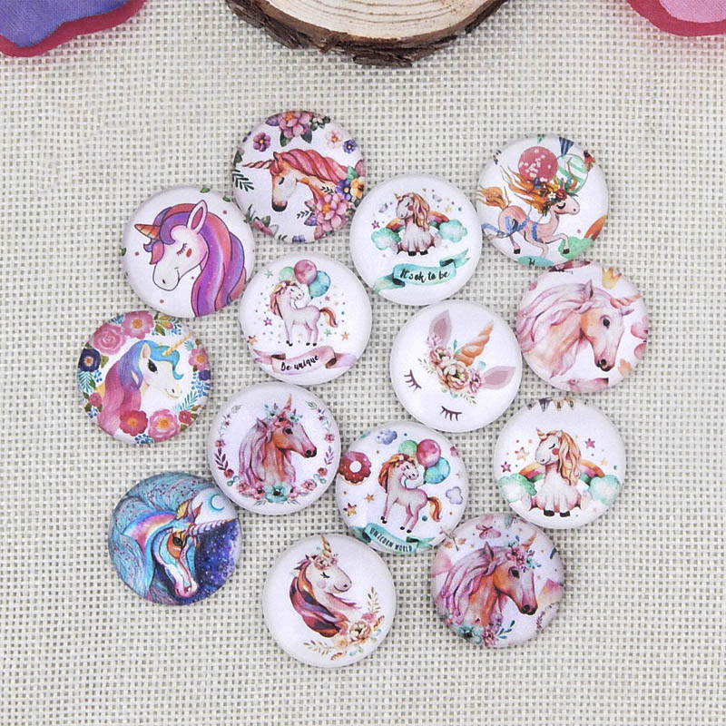 20pcs Cartoon Animal Photo Glass Cabochon 6/8/10/12/14/16/18/20/25mm Flat Back Fit Round Pendant Ring BaseFor Diy Jewelry Making