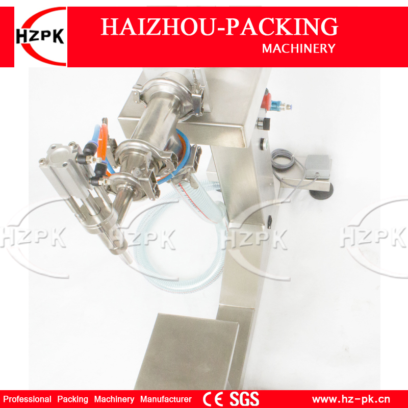 HZPK Vertical Single Head Liquid Filling Machine Electric&Pneumatic For Food Processor Filler Small Packer 100-1000ml G1LYD1000 zonesun pneumatic a02 new manual filling machine 5 50ml for cream shampoo cosmetic liquid filler