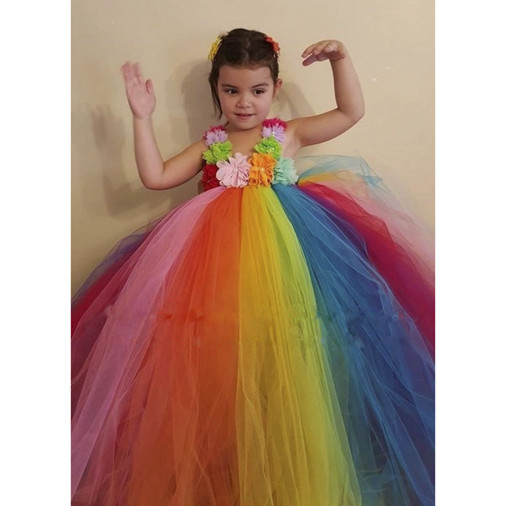 Aliexpress.com : Buy Baby Kids Colorful Flowers Rainbow Tutu Dress ...
