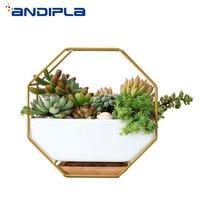 Creative Wall Vase Iron Art Plant Holder Ceramic Hanging Flower Pot Succulents Bonsai Pots Wall Planter Home Office Decoration