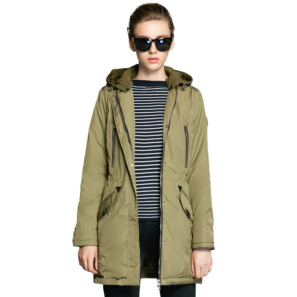 Фото ICEbear 2018 Mid-Long Casual Woman Jacket Removable Hat Adjustable Waistband Design Brand Parka Cotton High Quality 16G262D