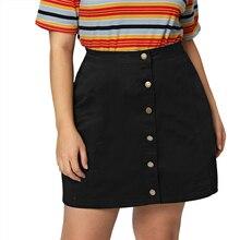 Women's Plus Size Button Black High Waisted Skirt